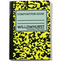 Neon yellow and black composition book with black logo
