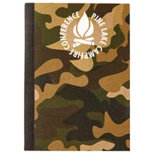 Brown and green camouflage notebook with white logo