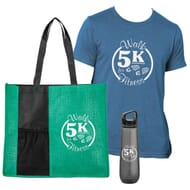 Green tote bag, blue t-shirt and grey water bottle, all imprinted with white logos