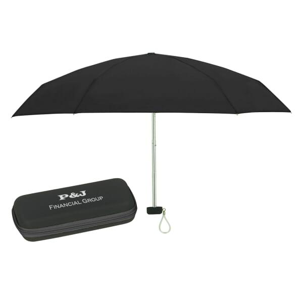 "37"" Arc Telescopic Folding Travel Umbrella With Eva Case"