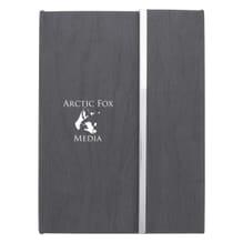 Grey woodgrain-look padfolio with white logo
