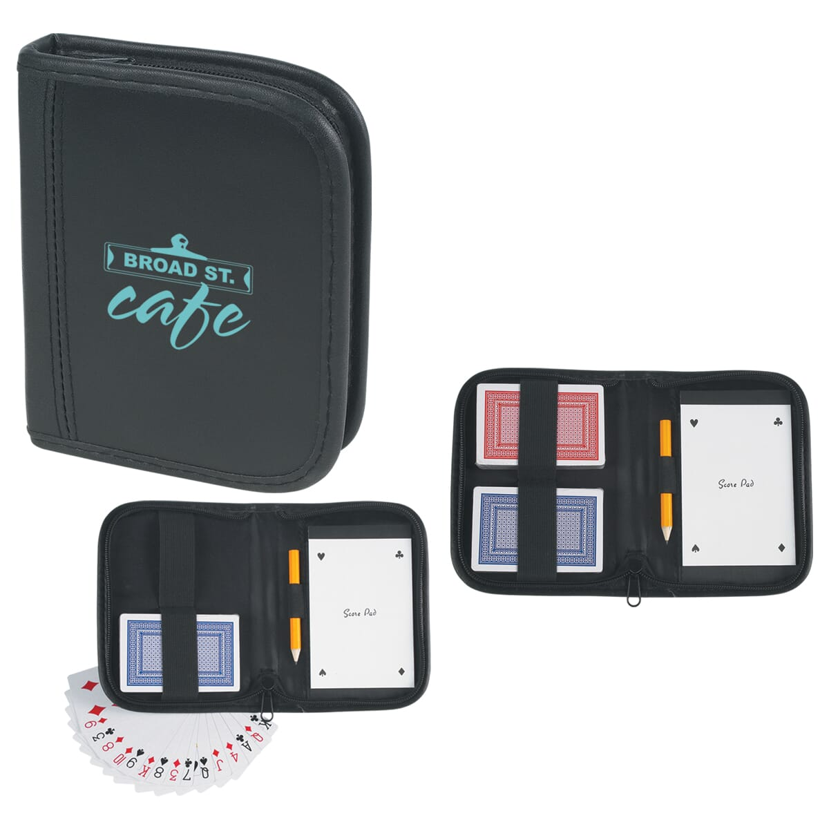 Card set with travel case, notepad and pencil
