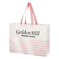 Pink and white tote bag with wavey lines