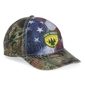 Outdoor Cap Camo Cap with Flag Sublimated Front Panels