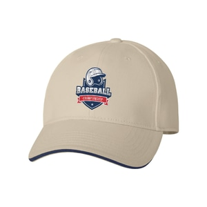 Tan baseball-style cap with navy blue accents and a red, white and blue logo