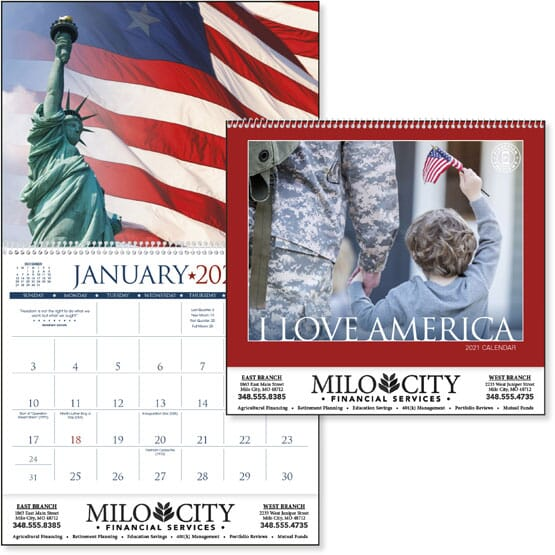 Full-size wall calendar with photo of Mount Rushmore and a black logo on the front.
