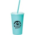 16 oz Miami Double-Wall Tumbler w/Straw