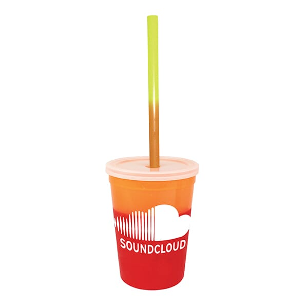 12 oz Chameleon Stadium Cup with Lid and Straw