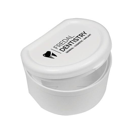 White denture case with logo on lid