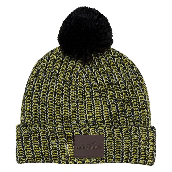 Knit Pom Beanie with Customized Leatherette Patch