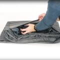Folded with storage pouch open