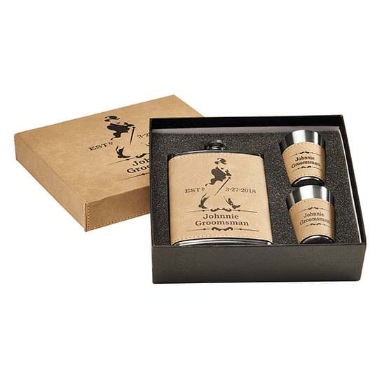 Leatheretted Flask Set