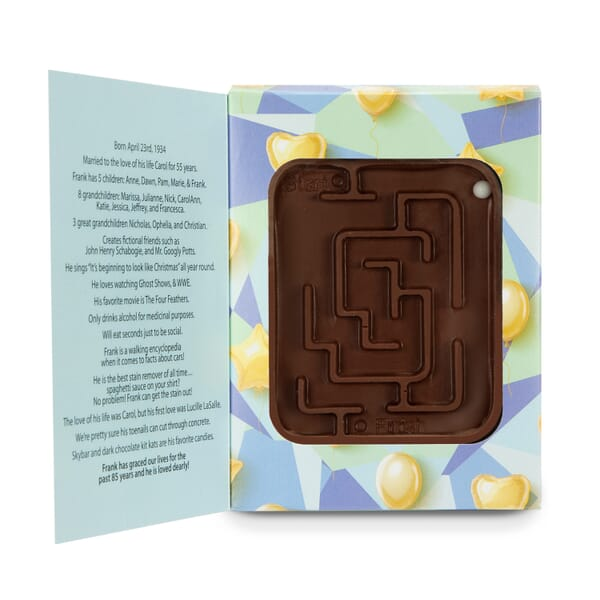 Fully Customizable Box with Milk Chocolate Molded Maze