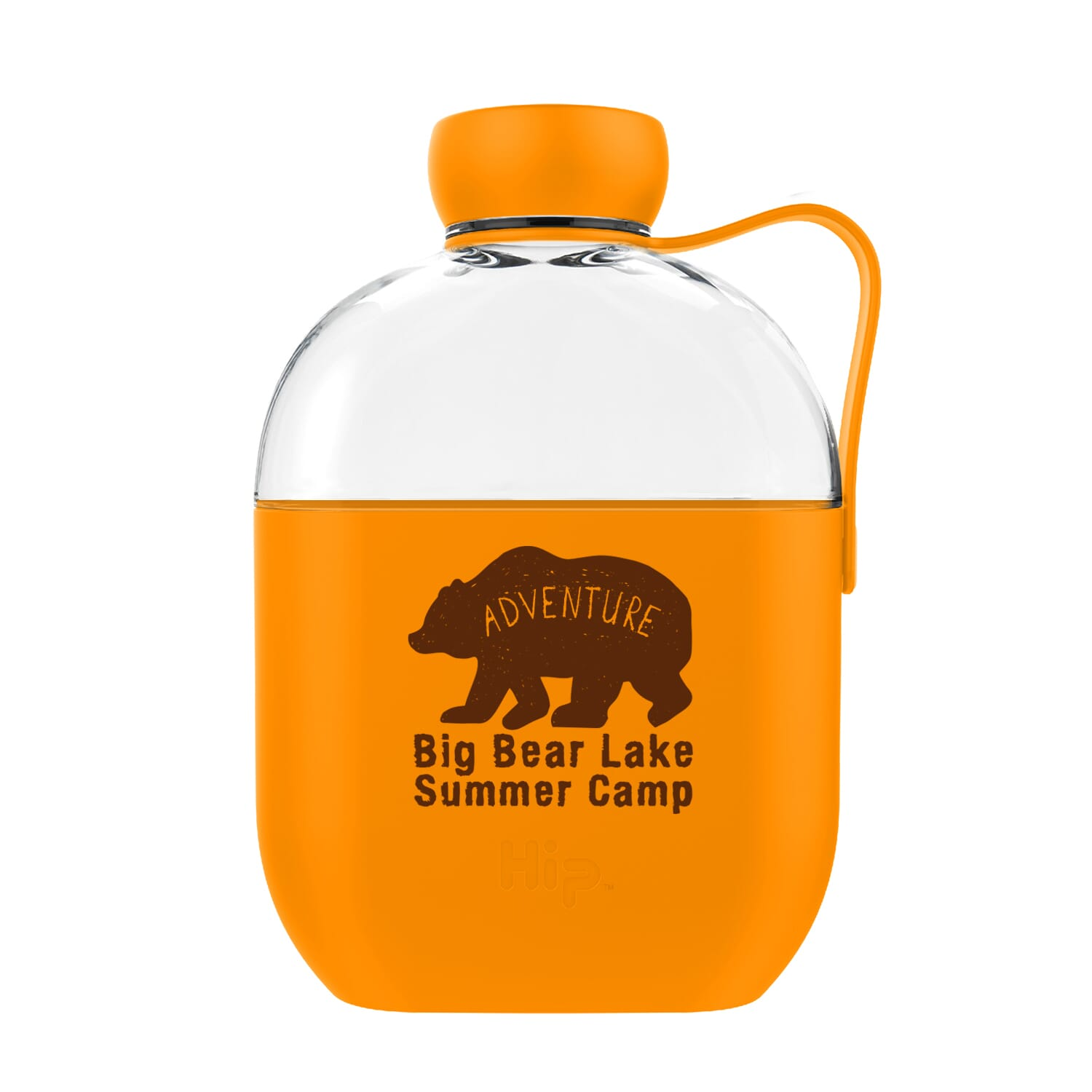 Hip Glass Bottle with Silicone Carrying Strap