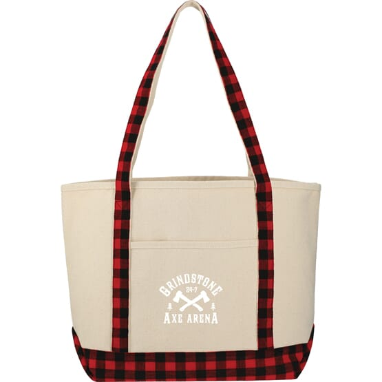 Buffalo Plaid 18 oz Cotton Boat Tote
