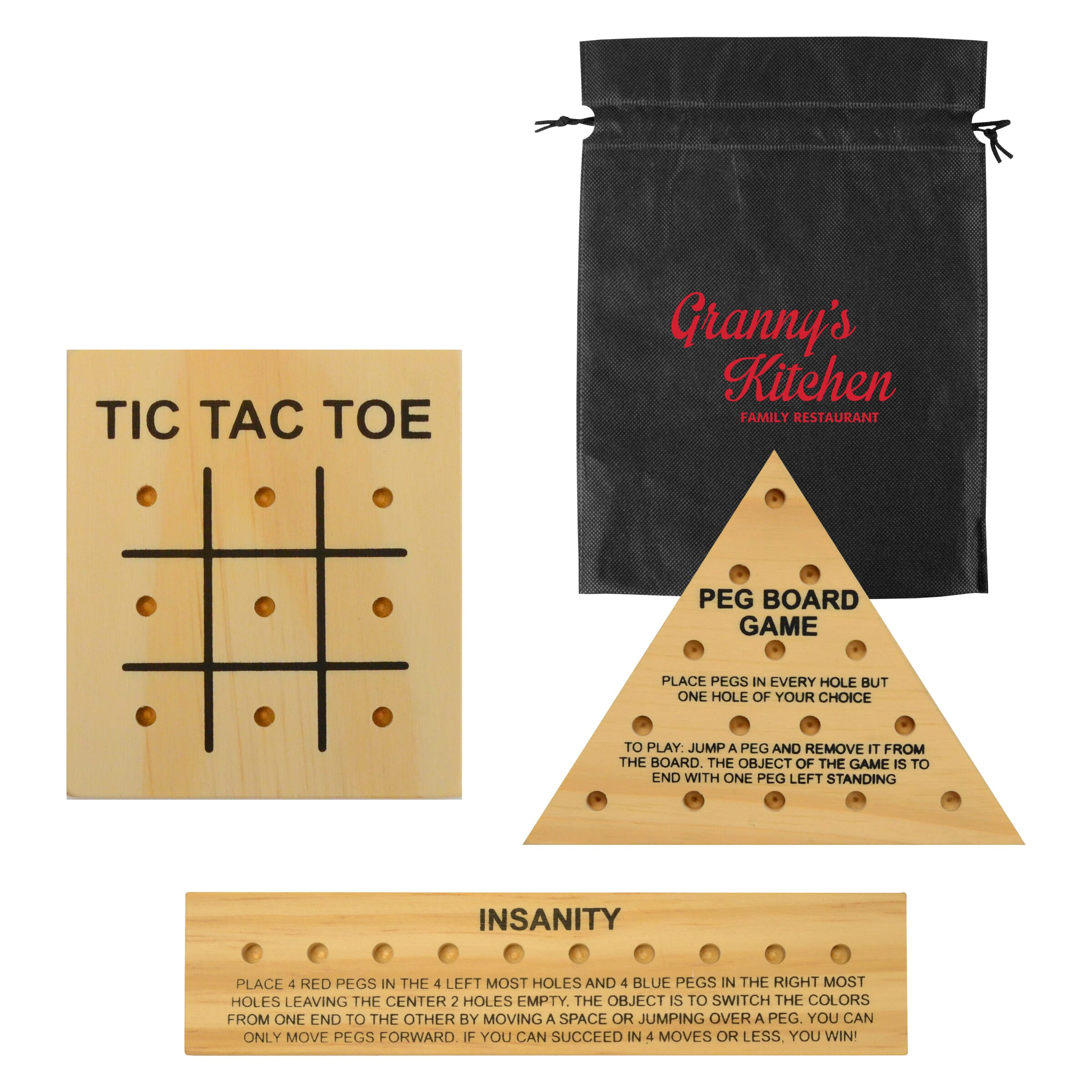 Travel wooden peg game