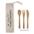 3 Piece Bamboo Utensil Set In Travel Pouch