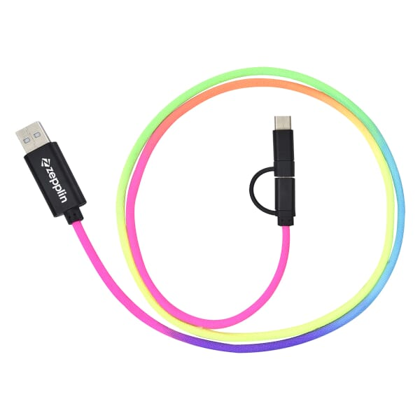 3 ft 3-in-1 Rainbow Braided Charging Cable
