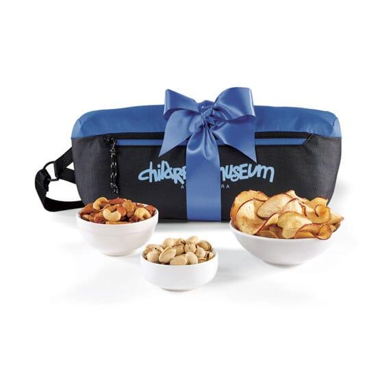 Sling bag with snacks gift set