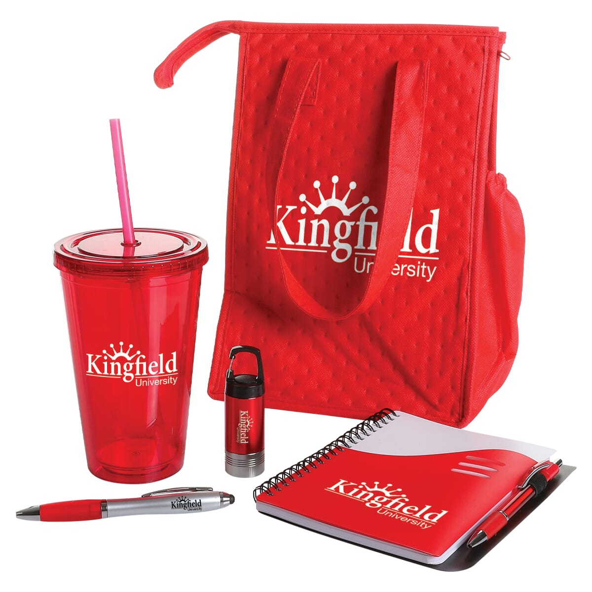 Red employee essentials set with bag, cup, flashlight, pen, and notebook