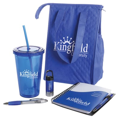 Blue employee welcome kit