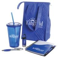 Blue school essentials set with logos