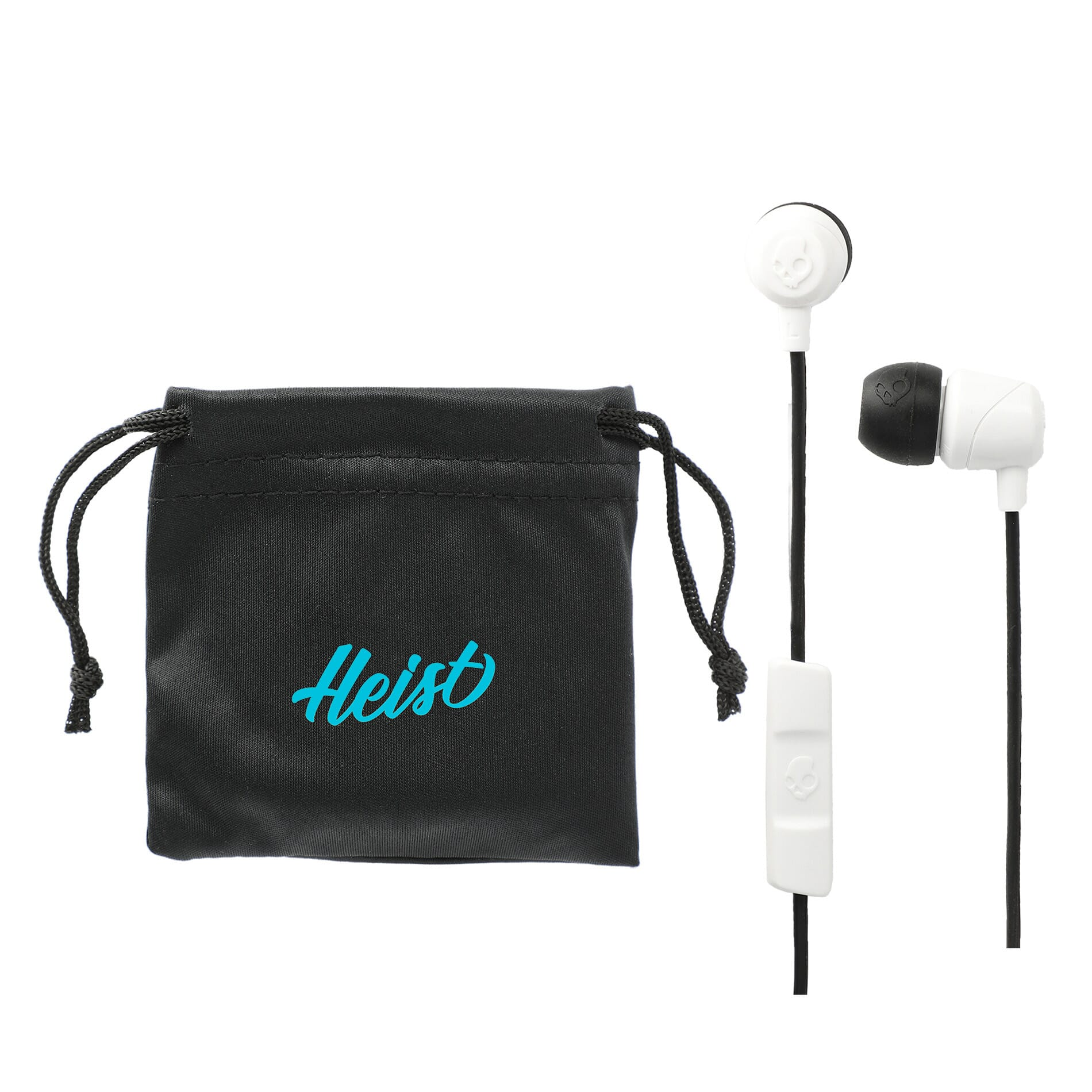 Skullcandy earbuds with carrying case with logo