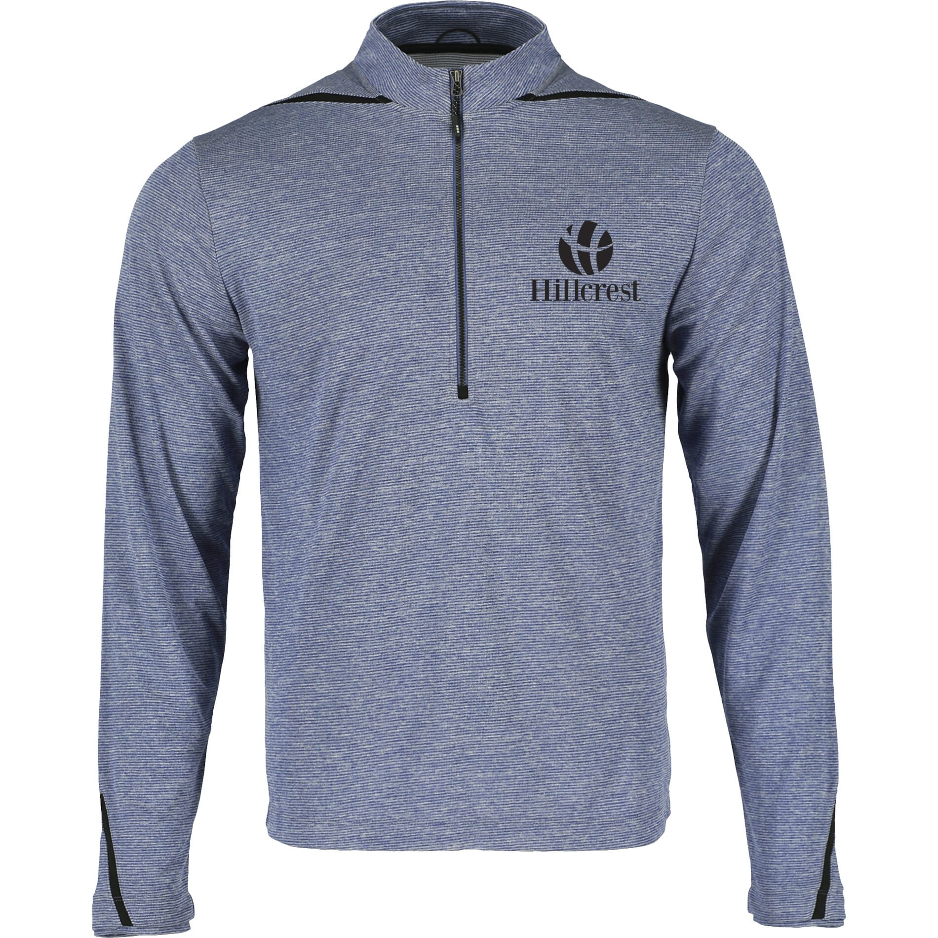 Blue heathered half zip pullover made of recycled polyester
