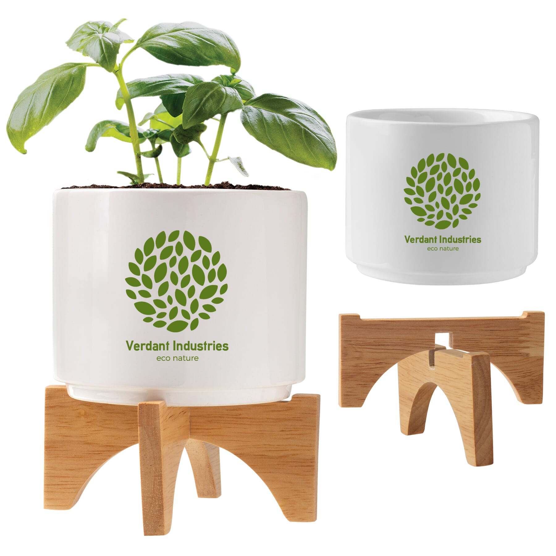 White Ceramic and Bamboo Planter Set