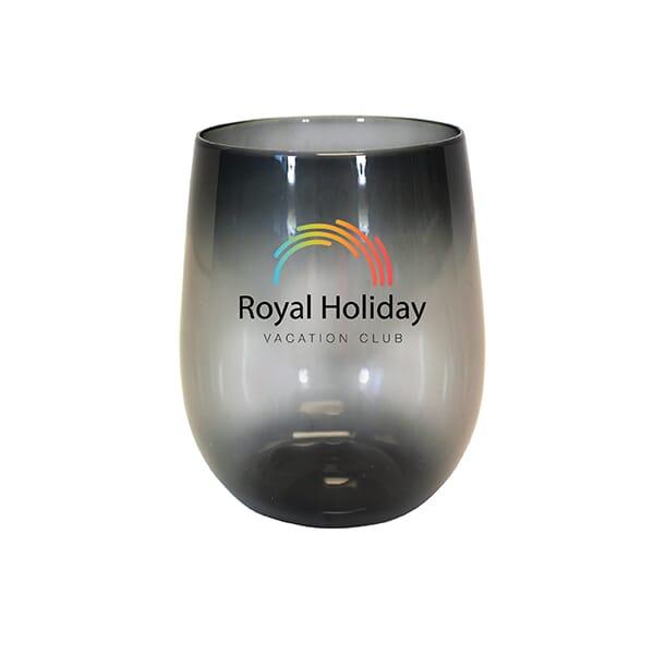 12 oz Plastic Stemless Wine Glass- Full Color Digital