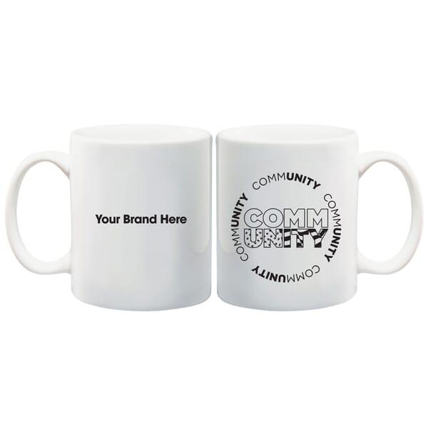 11 oz White Ceramic Mug - Community