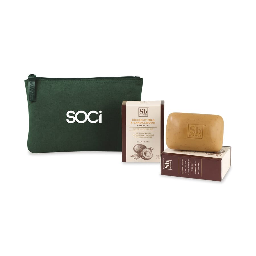 Soapbox Gift Set with Soap and Customized Green Pouch