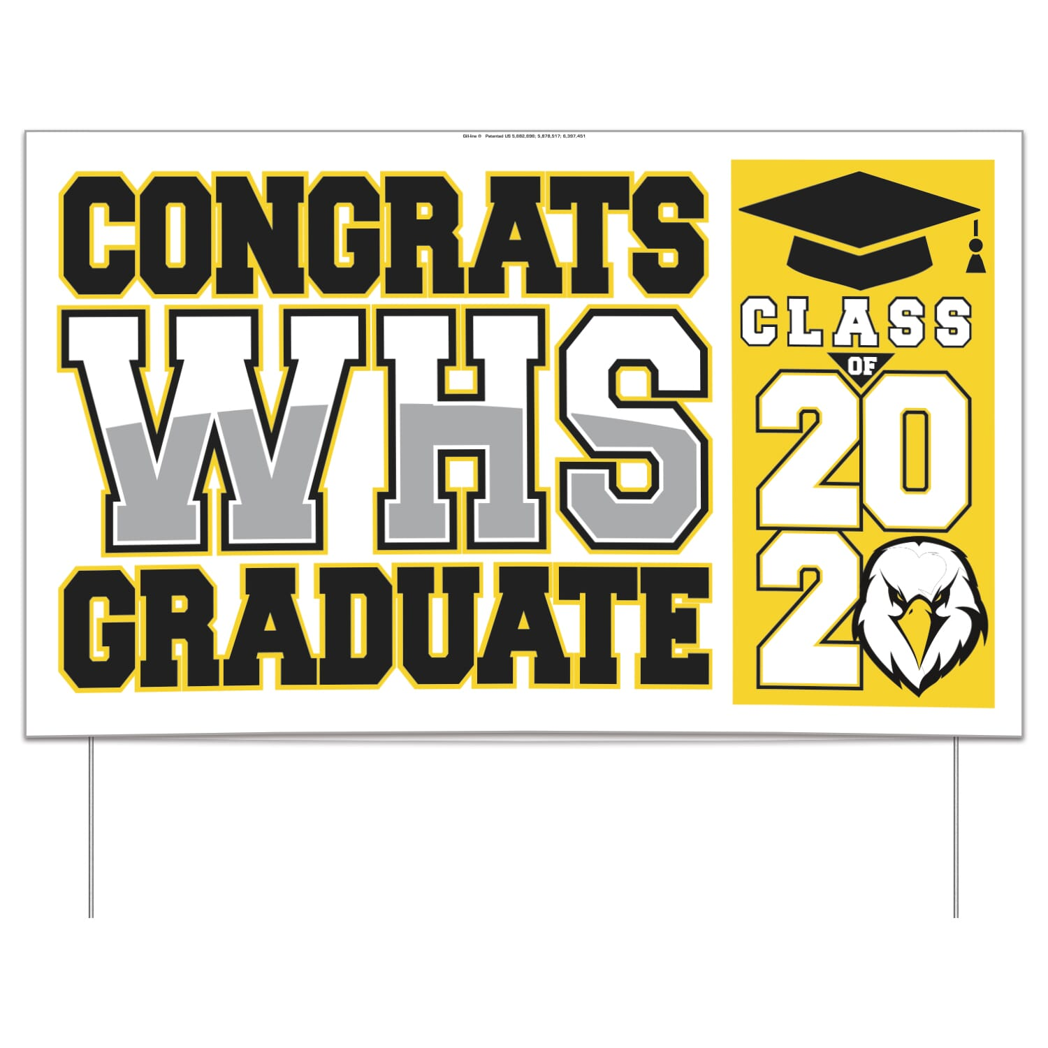Double-sided graduation lawn sign
