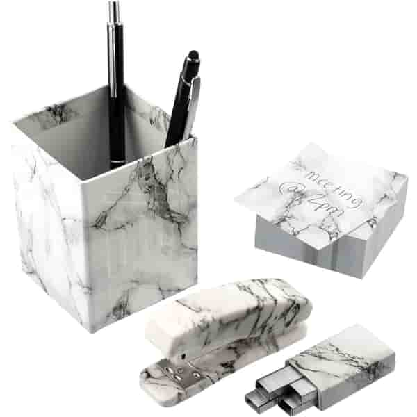 4 Piece Faux Marble Desktop Set