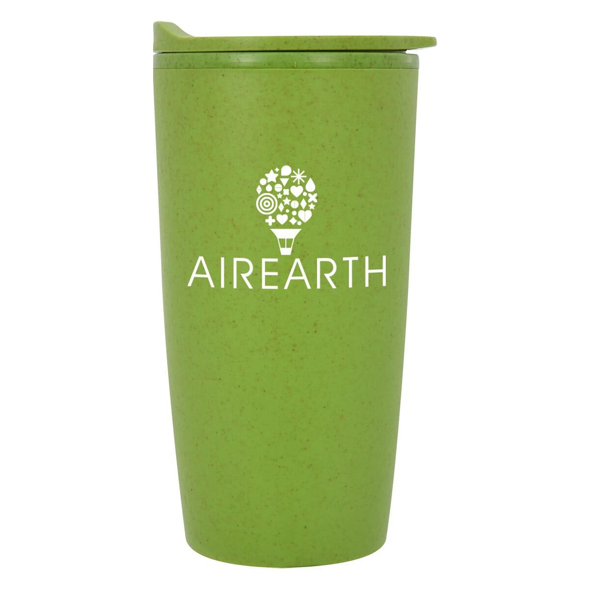 green travel mug made of eco friendly wheat material