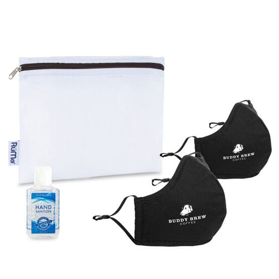 Customized PPE kit with face masks, hand sanitizer, and travel pouch