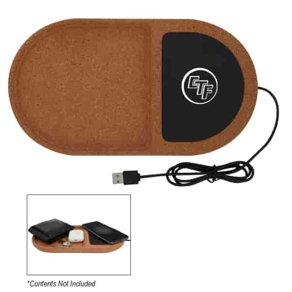 Cork Wireless Charging Pad Desktop Organizer