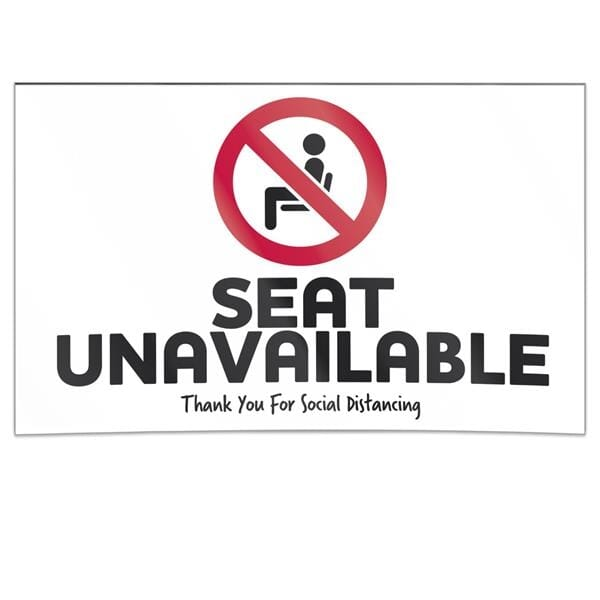 Double-Sided Social Distancing Seat Sign - Seat Unavailable