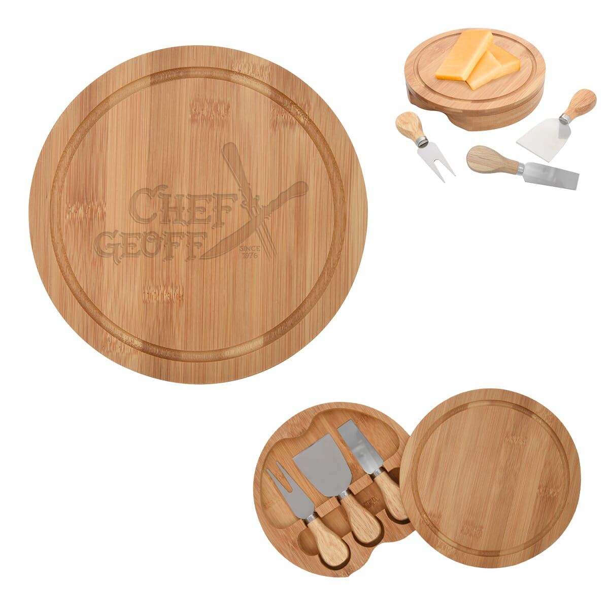 Bamboo cheese server gift set