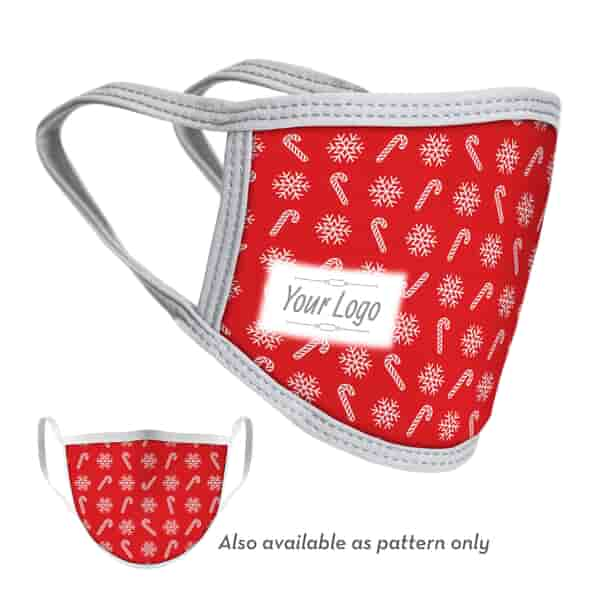 2-Ply Candy Cane Face Mask with Logo - Adult and Youth