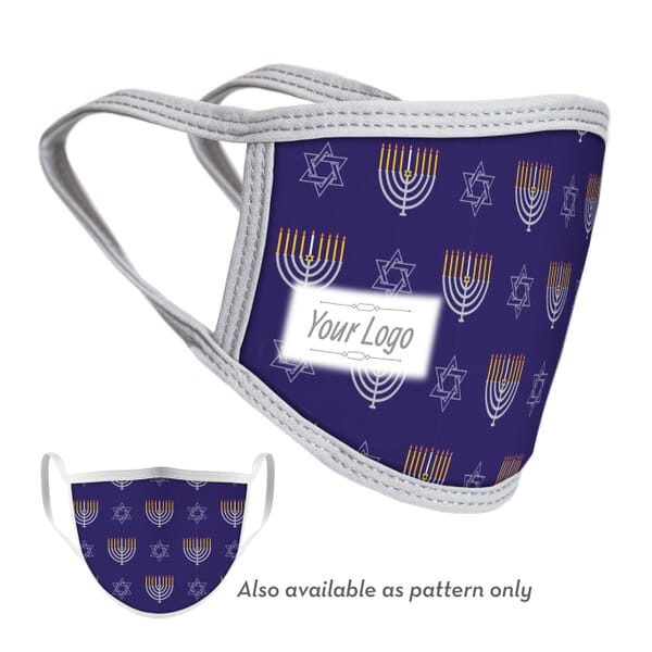 2-Ply Hanukkah Face Mask with Logo - Adult and Youth