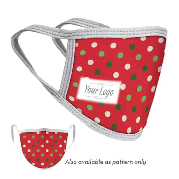 2-Ply Dots Face Mask with Logo - Adult and Youth