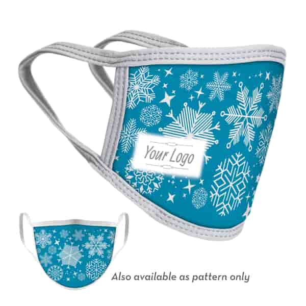 2-Ply Snowflake Face Mask with Logo - Adult and Youth