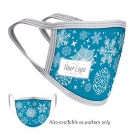 4-Ply Snowflakes Face Mask with Logo - Adult and Youth