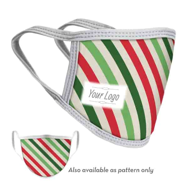 4-Ply Stripes Face Mask with Logo - Adult and Youth