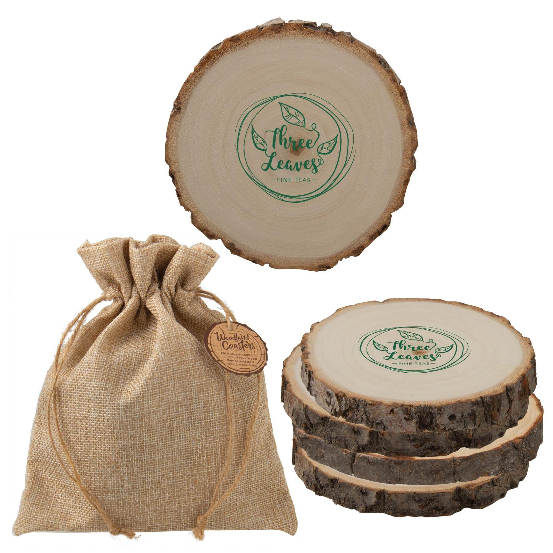 Natural Poplar Wood Coaster Set