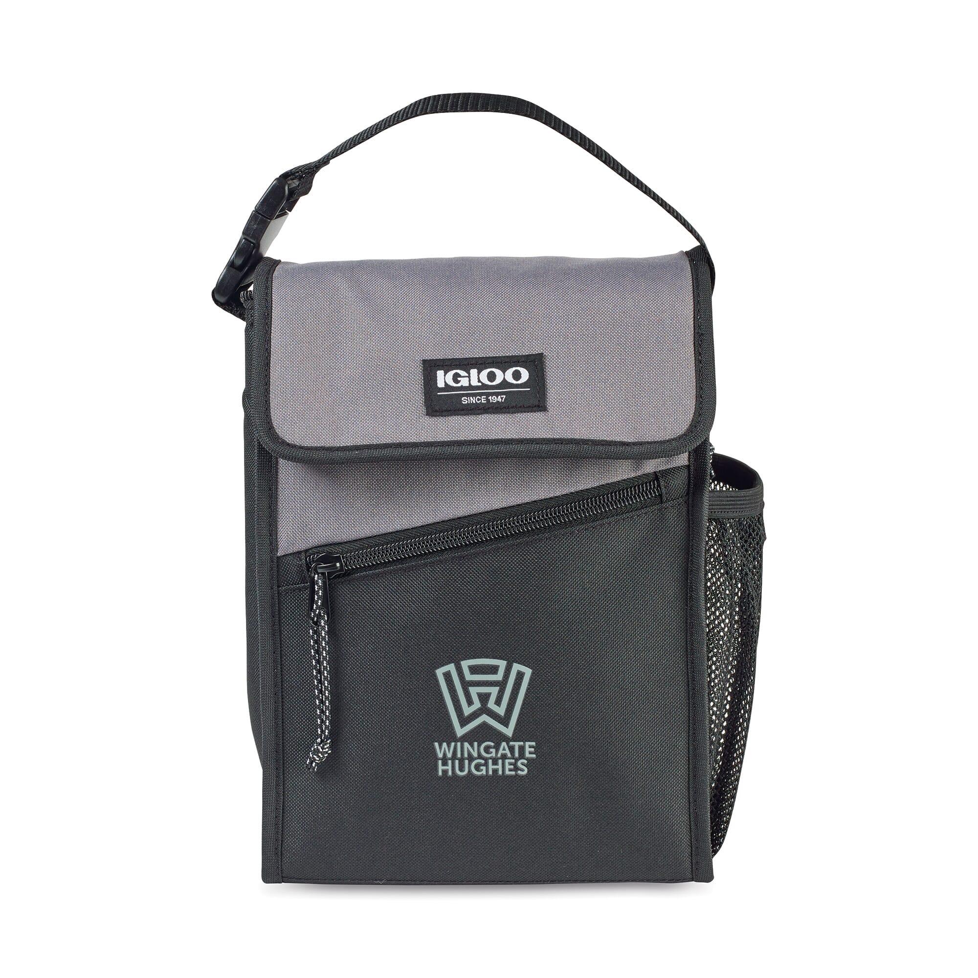 gray and black igloo inslated lunch bag
